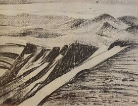 """K Bell Charcoal on board Scottish Highland view """"The grey Corrie """""""