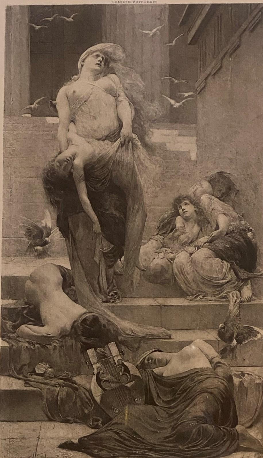"""Solomon Joseph Solomon RA RBA 1860-1927 """"Niobe"""" engraving"""