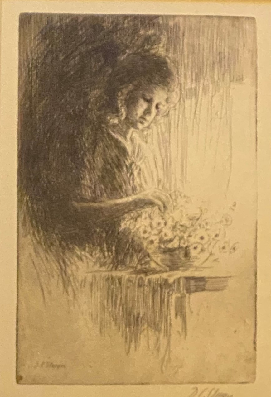 """""""Marguerite"""" by Dwight Case Sturges 1874- 1940 Pencil signed Etching - Image 2 of 4"""