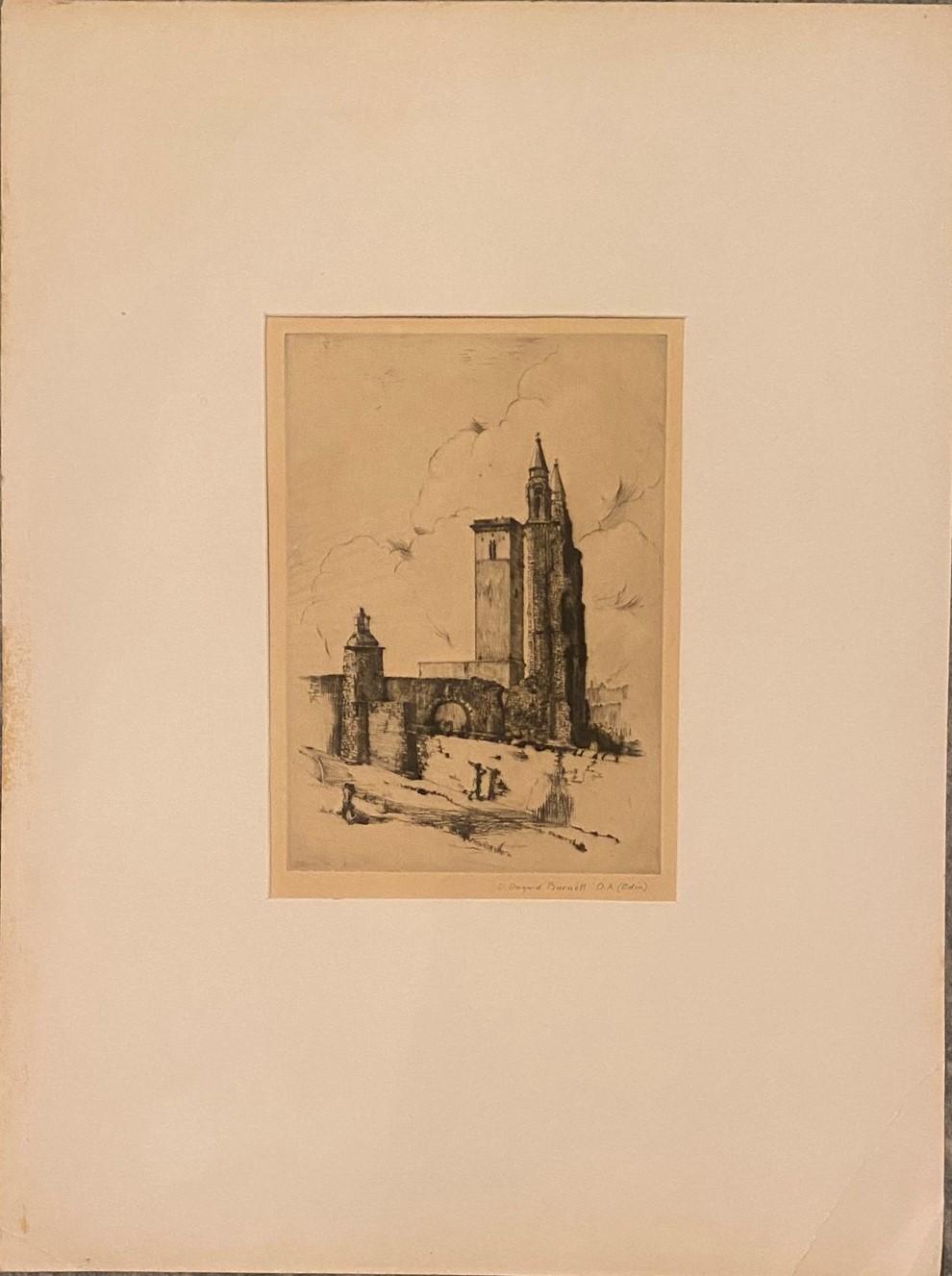 Pencil signed etching by D Dugaird Burnett D.A Edinburgh – Edinburgh View - Image 3 of 3