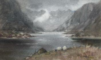 "Mary Helen Barnard signed watercolour ""Loch Coruisk"""