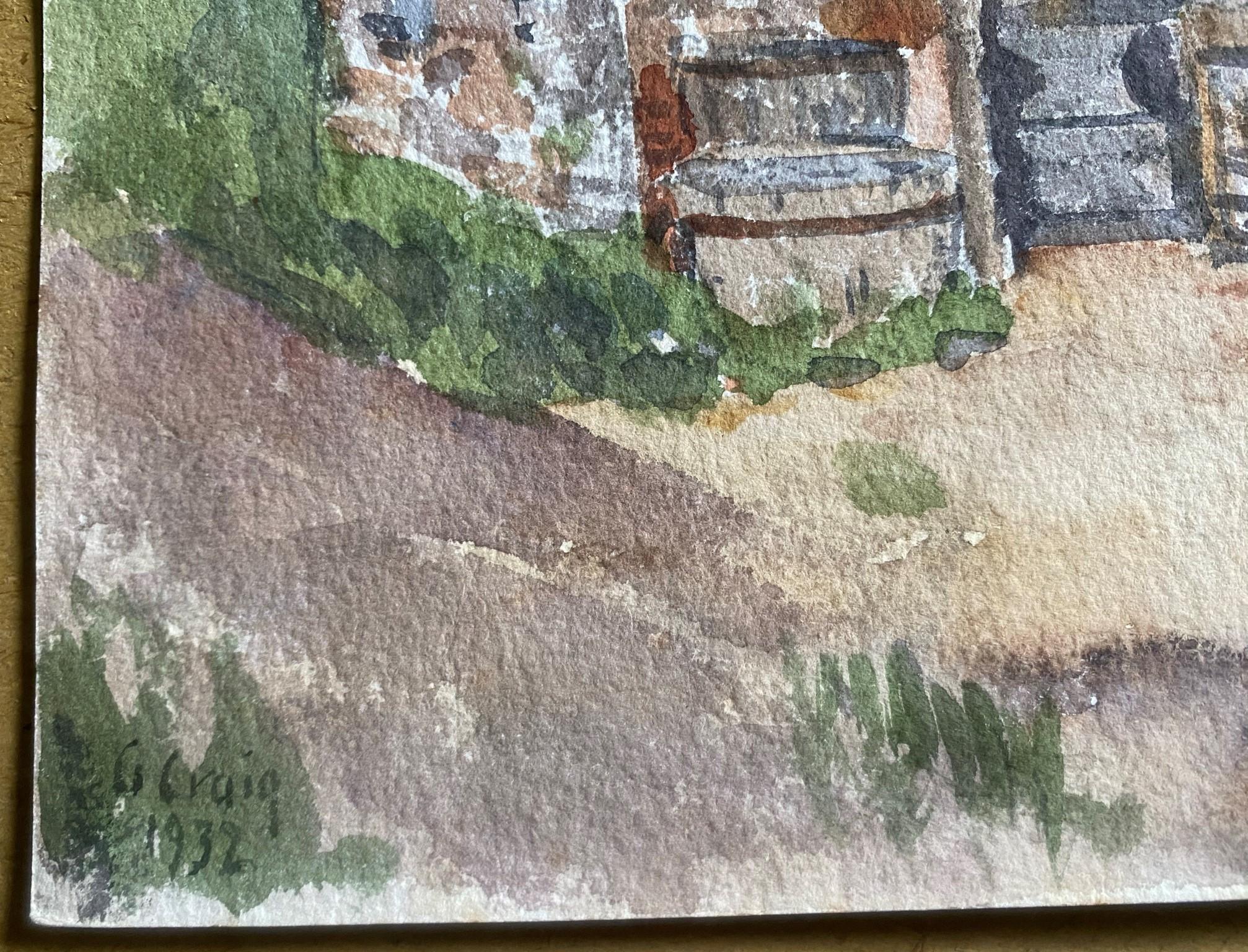 Watercolour signed G. M. Craig, (Gertrude Mary) Tile Works Dunshalt - Image 3 of 4