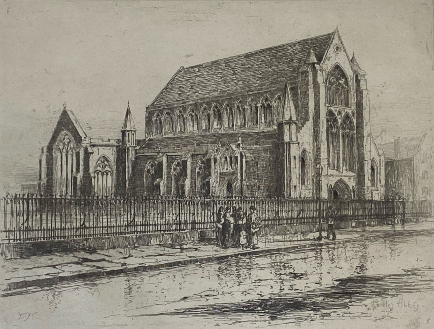 """David Young Cameron signed etching """"Paisley Abbey"""""""