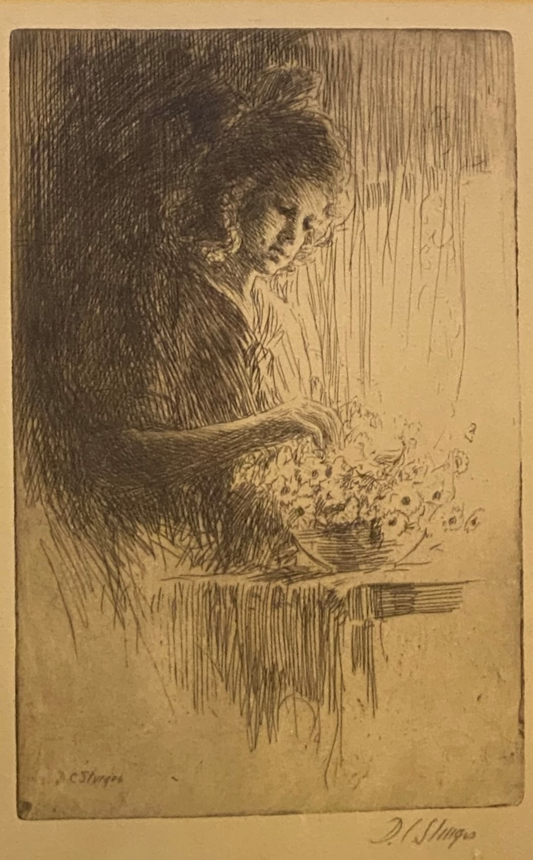 """""""Marguerite"""" by Dwight Case Sturges 1874- 1940 Pencil signed Etching"""