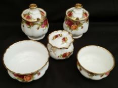 Vintage Royal Albert Old Country Rose 5 Items Includes Jam Honey Pots Sugar Pot etc