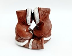 Vintage Eskimo Inuit Style Figures Eija Seras Kissing Sculpture & Stone Seal