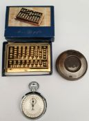 Vintage Smiths Stop Watch, Snuff Box & Abacus