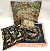 Vintage 4 x Embroidered Cushions Includes Hair & Hounds