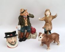 Vintage Parcel of 3 Assorted Royal Doulton Items & 1 Beswick Dog All A/F