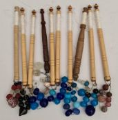 Antique Vintage 10 Wooden Lace Making Bobbins With Beads