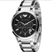 Emporio Armani AR2434 Men's Renato Silver Bracelet Chronograph Watch