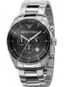 Emporio Armani AR0585 Men's Classic Silver Bracelet Chronograph Watch