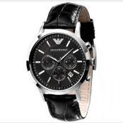 Emporio Armani AR2447 Men's Renato Black Leather Strap Chronograph Watch