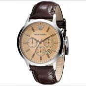 Emporio Armani AR2433 Men's Renato Brown Leather Strap Chronograph Watch