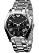 Emporio Armani AR0673 Men's Black Dial Silver Bracelet Quartz Chronograph Watch