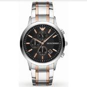 Emporio Armani AR11165 Men's Renato Two Tone Stainless Steel Bracelet Chronograph Watch