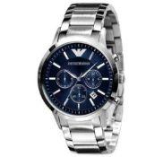 Emporio Armani AR2448 Men's Blue Dial Silver Bracelet Chronograph Watch