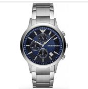 Emporio Armani AR11164 Men's Blue Dial Silver Bracelet Chronograph Watch