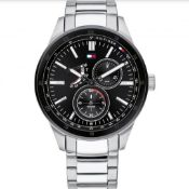 TOMMY HILFIGER 1791639 Men's Black and Silver Stainless Steel Bracelet Watch