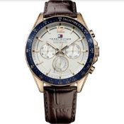 Men's Tommy Hilfiger Brown Leather Strap Chronograph Watch 1791118
