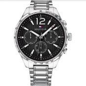 Tommy Hilfiger Men's Gavin Stainless Steel Silver Black Dial Watch 1791469