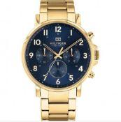 Tommy Hilfiger Daniel Gold Plated Dark Blue Chronograph Dial Bracelet Watch 1710384