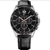 Tommy Hilfiger 1791117 Men's Black Dial Black Leather Watch