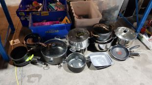 (R1H) Kitchen. Approx. 20 X Mixed Cooking Pots / Frying Pans (All Used / Damaged)
