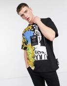 Versace Jeans Couture split design jungle t-shirt in black / Black / M / Qty 1