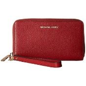 Michael Kors Flat Multi-Function Large Leather Smartphone Wristlet Colour Maroon Rrp £105