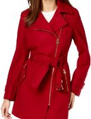 Michael Kors Michael Asymmetrical Belted Coat Size - Xl Red Rrp £225