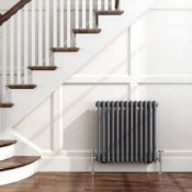 New 600 x 600mm Anthracite Double Panel Horizontal Colosseum Traditional Radiator. RRP £469.9...