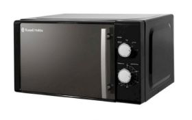 (R6D) Kitchen. 1 X Russell Hobbs Compact Black Manual Microwave 800W 20L (Clean, Appears New)