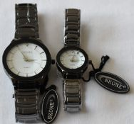 Skone his and hers White Dial Grey Metal Strap