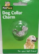 72 animal charms for fitting to there collars, several designs brand new in retail