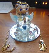 X2 12 angel bears with 12 angel necklaces coated with 22k gold bear