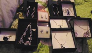 10 brand new sterling silver jewellery items, includes bracelets, necklaces and earrings