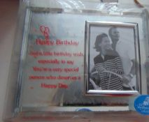 20 mirror picture framed birthday message on stand rrp £12.99 each.
