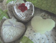12 x heart shaped damask box with glass heart packed in a beautiful box.