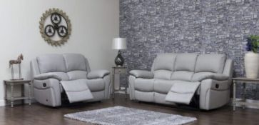 Brand new boxed Selena 3 seater Plus 2 seater in pearl grey leather