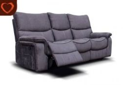 Brand new boxed 3 seater plus 2 seater Emilio reclining sofas in grey fabric