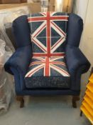 Brand New Union Jack wingback arm chairs