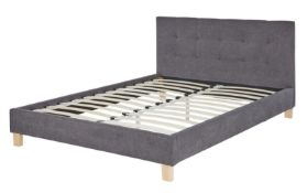 (R3K) 1 X Grey Upholstered Double Bed With Sprung Slats. (H88xW147xD202cm) (Box 1 & Box2)