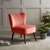 (R7P) 1 X Occasional Chair Burnt Orange. Velvet Fabric Cover. Rubberwood Legs. (H72xW60xD70cm) RRP