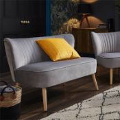 (R7O) 1 X Cocktail Sofa Grey. Velvet Fabric Cover With Rubberwood Legs. (H72xW110xD70cm) RRP £120