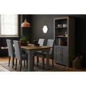 (R7D) 4 X Diva Dining Chairs. Grey Upholstered Seats. Solid Rubberwood Legs. RRP £250