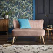 (R7J) 1 X Cocktail Sofa Dark Blush. Velvet Fabric Cover With Rubberwood Legs. (H72xW110xD70cm) RRP