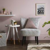 (R7O) 2 X Occasional Chair Dalmatian Print. Velvet Fabric Cover. Rubberwood Legs. (H72xW60xD70cm) R