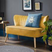 (R7K) 1 X Cocktail Sofa Ochre. Velvet Fabric Cover With Rubberwood Legs. (H72xW110xD70cm) RRP £120