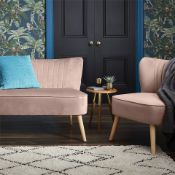 (R7O) 1 X Occasional Chair Dark Blush. Velvet Fabric Cover. Rubberwood Legs. (H72xW60xD70cm) RRP £6
